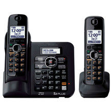 2 Handsets KX-TG6641 series DECT 6.0 Digital wireless phone Black Cordless Phone with  Answering system