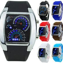 New! 2016 New HOT SALE RPM Turbo Blue Flash LED Mens Sports Car Meter Dial Watch  Birthday Gifts
