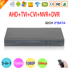 1080P,960P,720P,960H Surveillance Camera HI3531A 32CH 32 Channel 6 in 1 Coaxial Hybrid IP NVR CVI TVI AHD CCTV DVR Free Shipping(China)