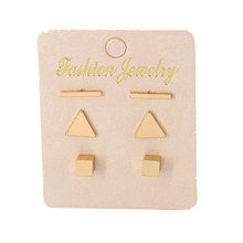 3Pairs/set Simple Alloy Triangle Bar Stud Earrings Set for Women Gold Color Small Geometric Square Ear Cuff Fashion Jewelry(China)