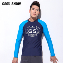GS Mens Long Sleeve Rashguard UPF 50+ Swimwear Rash Guard Athletic Tops UV Sun Protection Rash Guards Diving Swim Surf Shirts(China)