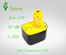 2500mAh New NI-MH Rechargeable Power Tool Battery Packs Replacement for Dewalt 12V DW9071 DW9072 DW/DE9074 DW9072 DE9075 DE9037