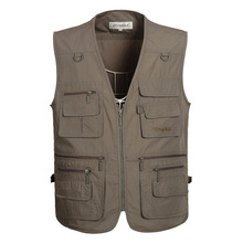 2017 New Men's Casual Vest With Multi Pockets  Cotton Men Vests Regular Five Colors Plus Large Size 5XL Vest Men Summer Hotsales