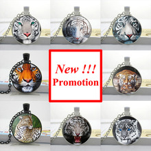 2015 New Fashion White Tiger Necklace Leopard Pendant Gifts For Men Glass Photo Pendant Necklace
