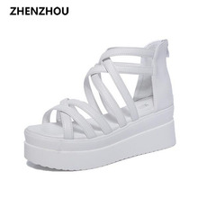 Free shipping 2017 summer cross dewy toe women sandals sponge base platform height with the Roman sandals white female(China)