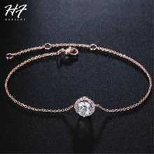 Top Quality Round Micro Mosaic CZ Crystal Rose Gold Color Bracelet Fashion Austrian Crystal Jewelry For Women Wholesale H165(China)