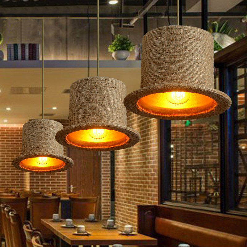 Rope Pendant Lights Vintage Iron Pendant Lamps Wood Moorhouse Hat Pendant Lighting Hanglamp 110-240v <br><br>Aliexpress