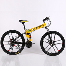 26inch 10 knife wheel folding mountain bike 21 speed Two-disc brake bicycle  20inch 5 knife wheel folding mountain bike