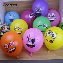 Tronzo 10 pcs Birthday Latex Balloon Mix Color Smily Face Party Balloons For Birthday Party Decorations Kids Christmas Gifts