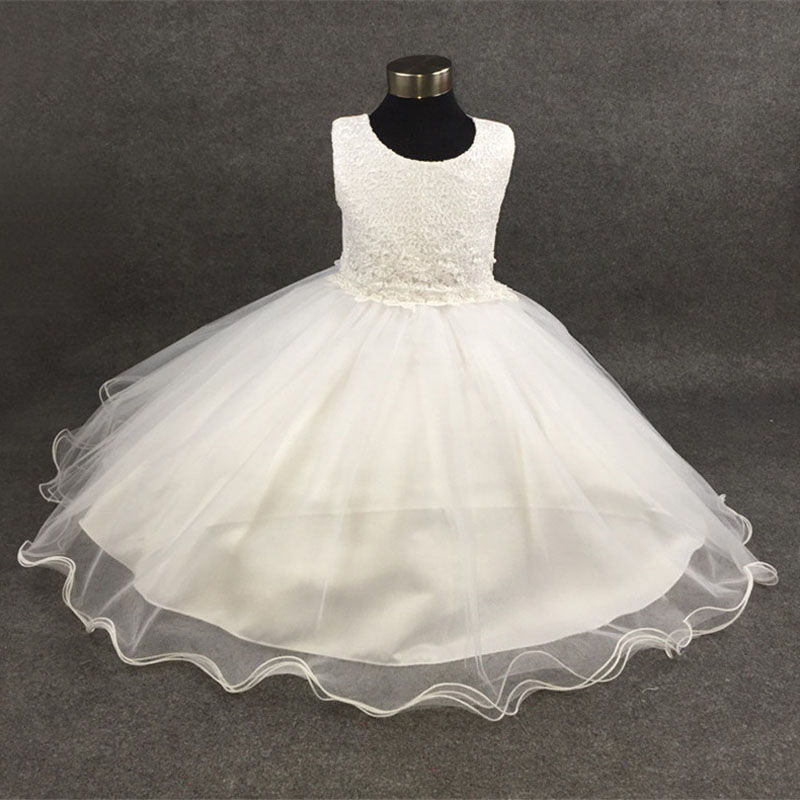 Summer Formal First Communion Lace Dresses Girl Wedding Party Tulle Lace Infant Pageant Flower Princess Dress With Pearl Ruched<br>
