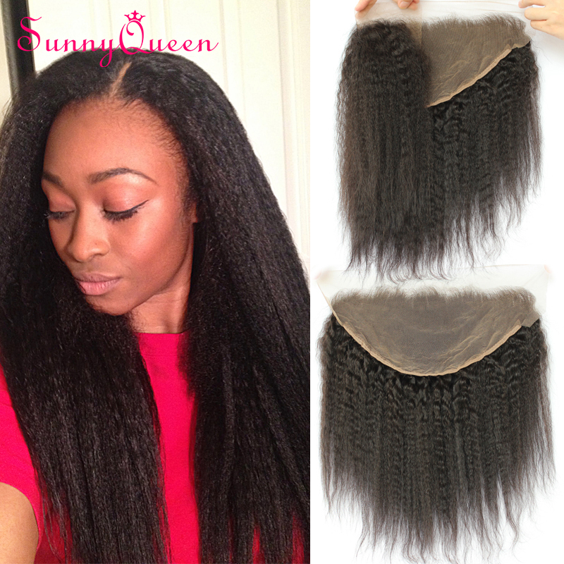 8A Unprocessed Brazilian Lace Frontal Closure Kinky Straight Ear to Ear 13X6 Lace Frontal Closure With Baby Hair Bleached Knots<br><br>Aliexpress