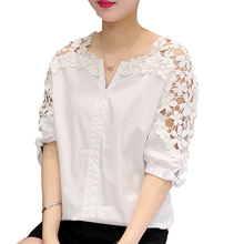 Camisas Femininas 2017 White Shirt Women Tops Hollow Out Flowers Cotton Lace Blouse moda mujer Korean Fashion Vetement Femme 5XL