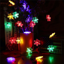 iTimo 6M 30LEDs LED Christmas Lights Solar Snowflake Lamp Curtain String Fairy Lights for New Year Party Wedding Waterproof(China)