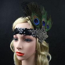 Best Deal Fashion Women Party Bride Hairband Vintage Sequin Feather Flapper Headband Great Headdress Headpiece Decorations(China)