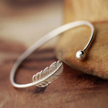 Daisies Cuff Bangles Real 925 Sterling Silver Leaf Feather Adjustable Bangle & Bracelet Women Pulseira Statement Jewelry