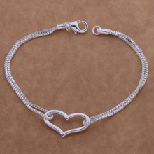 Cute design silver plated Heart  pendant bracelet fashion beautiful birthday gift AB063