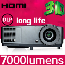 HD shutter 3D DLP Projector Home 3D dlp 1080P Projector with 7000 lumens high brightness for Business Presentation Anywhere