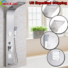 Stainless Steel Rainfall Shower Panel Shower Column Tub Jets Hand Shower Tap Mixer Tap Tower Shower Column