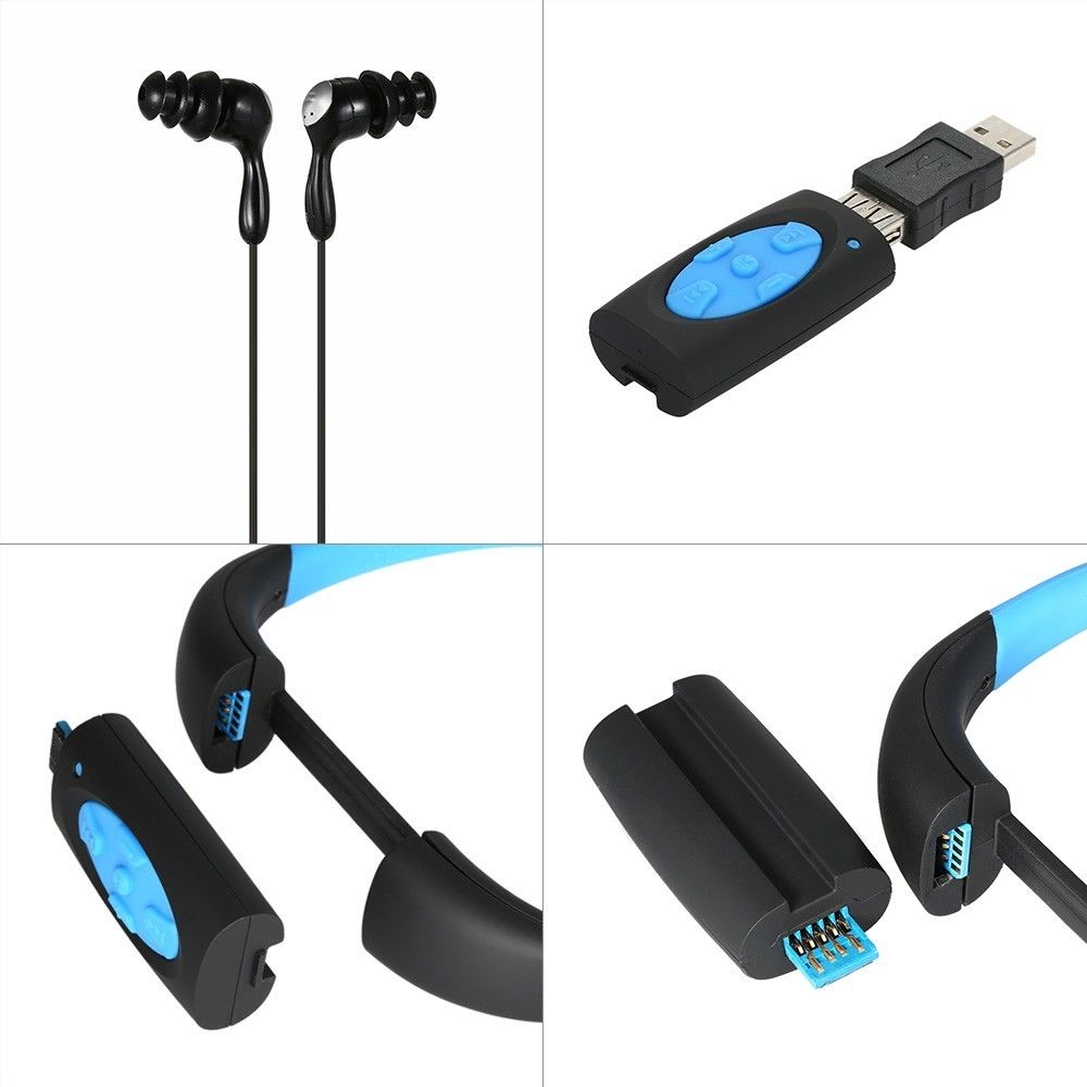 8GB Waterproof MP3 Headset For Swimming Underwater Sport Stereo MP3 Player with FM Radio Music Player for Diving