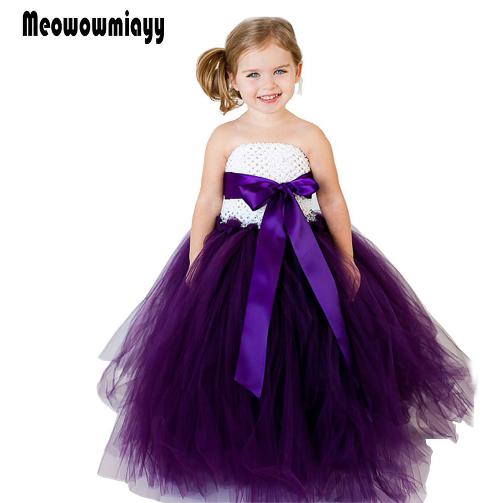 Girls dresses for party and wedding summer 2018 kids clothes Strapless Bowknot ribbo prom dresses vestido infantil festa<br>