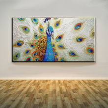 Famous Artist Hand-painted Peacock Oil Painting On Canvas Modern Animal Peacock Decorative Painting For Living Room Decoration(China)