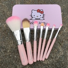7PCS Newest Pink Hello Kitty Makeup Brush Set Mini Size Professional Cosmetics Make Up Brushes Set For MAC With Metal Box VH012