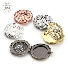 5pcs/lot Gold Color Round Copper Essential Oil Diffuser Locket Pendant Hollow Out Cameo Photo Cabochon Base Jewelry Making(China)