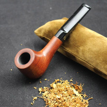 16 Tools Nature Handmade Rose Wood Weed Tobacco Smoking Pipe Straight Wooden Pipe + Pouch + Holder + 10pcs 9mm Pipe Filters #095
