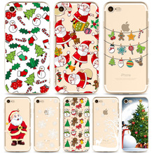 Transparen Christmas Case For iPhone 7 8 Cover Soft Santa Claus Christmas tree snowflakes Design 2018 New Year Fitted Case