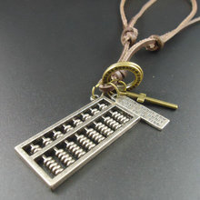 2015 New Christmas Gift Long Genuine Leather Men Jewelry Accessories Abacus Pendant Vintage Men Necklaces