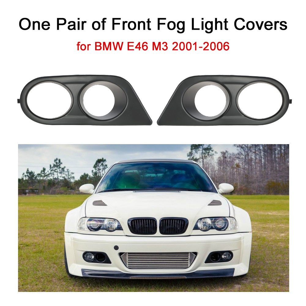 One Pair of Front Lower Bumper Fog Light Covers Case Outshell for BMW E46 M3 2001-2006<br>