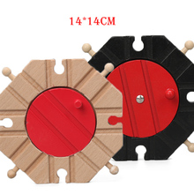 Black Red Wooden Train Track 8 Way Turn Table Expansion Crossing Tracks Trains Accessories Blocks Toys bloques de construccion(China)