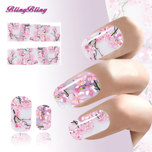 2PCS Sakura Nail Art Sticker Flowers Water Decals Transfer Foil Ongle Cherry Blossoms Design For Nails Wraps Manicure Decoration