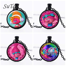 SUTEYI Kid Dress Up Figures Action Toys New Dream Works Silver Crystal Glass Chain Trolls Pendant Crystal Necklace Jewelry 2017