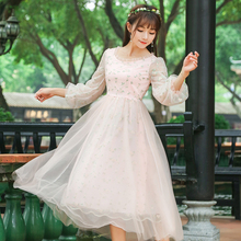New Spring Summer Women dress Lantern Mesh O-Neck Slim 6985 Nine Points Sleeve Embroidery Dresses Pink Light Blue 2651(China)