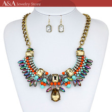 Brightly Maxi Statement Collar Necklaces Colorful Luxcury Rhinestions Pendants Necklaces For Women Holidays Beach Bohemia Style(China)