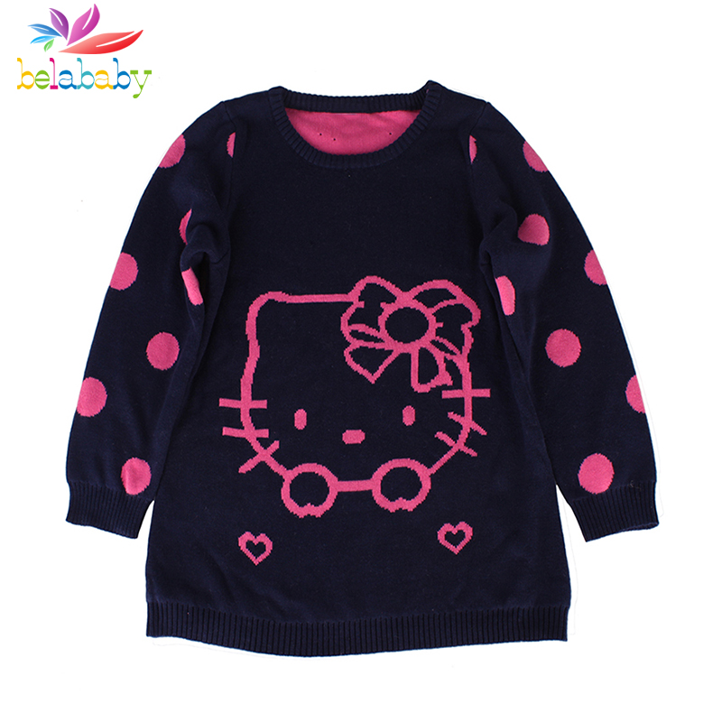 Belababy Girls Clothing Cartoon Baby Knitted Sweaters For Kids Winter Pullover Outfit O-neck Long Sleeve Outerwear