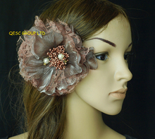 FREE SHIPPING.15cm lace silk flower for sinamay fascinator hat,hair accessory.brooch pin hair clip