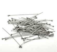 LASPERAL 50PCs Stainless Steel Ball Head Pins 40x0.7mm Silver Tone DIY Pins For Jewelry Making High Quality DIY Pins & Needles