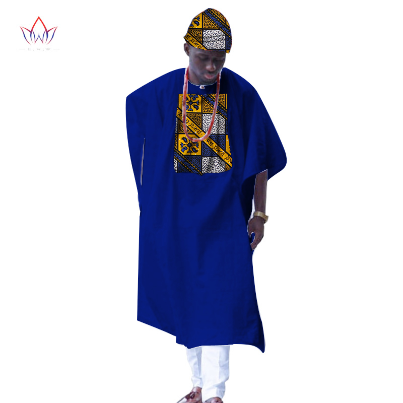 BRW New African Clothes for Men Dashiki Print Tailored Long Men Loose Plus Size Robe Traditional African Clothing WYN309