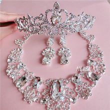 Continental white rhinestone necklace earrings bridal crown three-piece wedding dress bridal hair jewelry with jewelry(China)