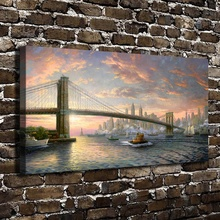 H1117 Thomas Kinkade The Spirit of New York Scenery, HD Canvas Print Home decoration Living Room Bedroom Wall pictures painting(China)