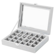 24 Slots Velvet Women Desk Jewelry Storage Box Portable Ring Necklace Jewelry Carrying Case Women Home Storage Supplies 5 Colors(China)