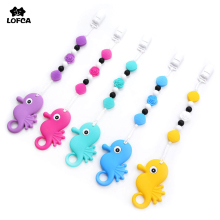 Silicone Teether Seahorse Teething Chain Toy Pacifier Clips Pendant Necklace Baby Carrier Accessory Pacifier Clip Holder Safety(China)