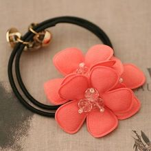 Summer Handband Chiffon Flower with Crystal Beads Elastic Hair Band for Women High Quality Flower Hair Tie