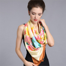 High quality 100% pure silk women square scarves lady's new brand fashion Hand painted  scarf & shawl 110*110cm autumn winter