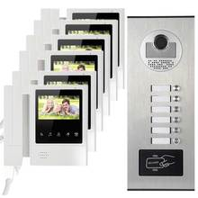 "6 apartments video intercom system video door phone IR infrared camera hands-free speaker with 4.3"" inch color display touch key"