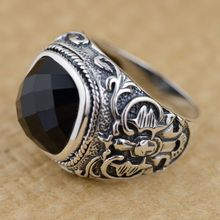 S925 Mens Black Onyx Ring silver inlaid silver antique crafts Square domineering fashion style