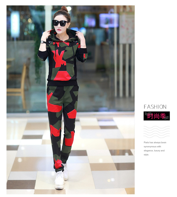 17 Women 2 Two Piece Set Camouflage Sporting Suit Femme Hoodies Sweatshirt Top And Pants Sweatsuit Set Casual Runway Tracksuit 7