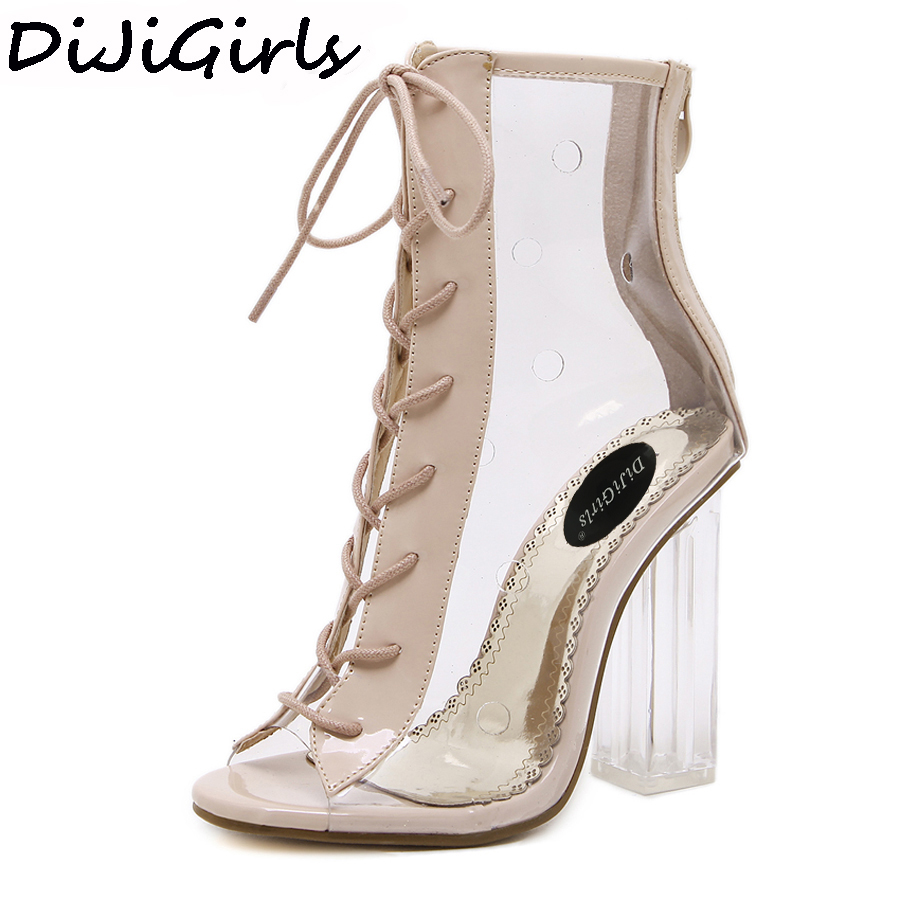 DiJiGirls Women Summer Ankle Boots Peep Toe Bootie Clear Crystal Transparent Block Chunky High Heel Pumps High Top Shoes Woman<br>